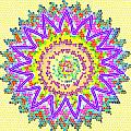 Chakra Energy  Mandala Ancient Healing Meditation Tool Stained Glass Pixels  Live Spinning Wheel  by Navin Joshi