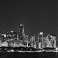 Chicago Skyline At Night Black And White Panoramic by Adam Romanowicz