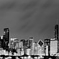 Chicago Skyline At Night In Black And White by Sebastian Musial