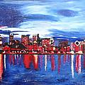 Chicago Skyline At Night by M Bleichner