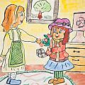 Child Drawing Of Mother Giving Gift To Daughter by Aleksandar Mijatovic