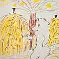 Child Painting Of Bear In Forest by Aleksandar Mijatovic