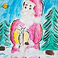 Child's Drawing Of Santa Claus With Watercolors by Aleksandar Mijatovic