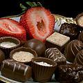 Chocolate On Plate With Strawberry by Gunter Nezhoda