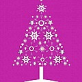 Christmas Tree Made Of Snowflakes On Pink Background by Taiche Acrylic Art