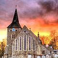 Church And Graveyard At Dusk by Fizzy Image