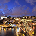 City Of Porto In Portugal By Night by Artur Bogacki
