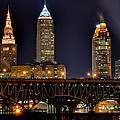 Cleveland Skyline At Night by Frozen in Time Fine Art Photography