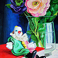 Clown Book And Flowers by Edward Skallberg
