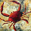 Coastal Crab Decorative Painting Original Art Coastal Luxe Crab By Madart by Megan Duncanson