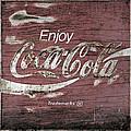 Coca Cola Pink Grunge Sign by John Stephens
