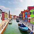 Colorful Houses And Canal On Burano Island Near Venice Italy by Michal Bednarek