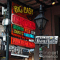Colorful Neon Sign On Bourbon Street Corner French Quarter New Orleans Poster Edges Digital Art by Shawn O'Brien