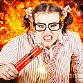 Crazy Business Worker Under Explosive Stress by Jorgo Photography - Wall Art Gallery