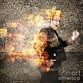 Crazy Businessman Running Engulfed In Fire. Late by Jorgo Photography - Wall Art Gallery