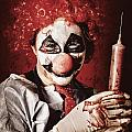 Crazy Medical Clown Holding Oversized Syringe by Jorgo Photography - Wall Art Gallery