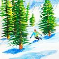 David Skiing The Trees  by Walt Brodis