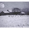 December Moonrise Farmstead by John Stephens