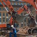 Demolition Vehicles At Work by Frank Gaertner