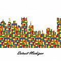 Detroit Michigan Building Blocks Skyline by Gregory Murray
