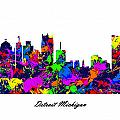 Detroit Michigan Paint Splatter Skyline by Gregory Murray