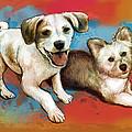 Dog Stylised Pop Modern Art Drawing Sketch Portrait by Kim Wang