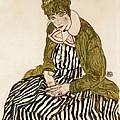 Edith With Striped Dress Sitting by Egon Schiele