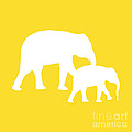 Elephant In Golden And White by Jackie Farnsworth