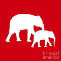 Elephants In Red And White by Jackie Farnsworth