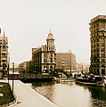 Erie Canal On Salina Street In Syracuse New York - Circa 1904 by Mountain Dreams