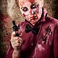 Evil Demented Zombie Holding Hand Gun. Robbery by Jorgo Photography - Wall Art Gallery