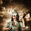Evil Surgeon Clown Juggling Bloody Knives Outside by Jorgo Photography - Wall Art Gallery