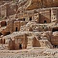 facade street in Nabataean ancient town Petra by Juergen Ritterbach