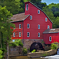 Faded Red Water Mill On The Dam Of The Raritan River by David Letts