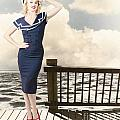 Fine Art Vintage Pin-up. Vacation Departure Dock by Jorgo Photography - Wall Art Gallery