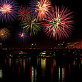 Fireworks Over The Broadway Bridge by Robert Camp
