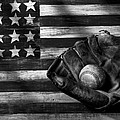 Folk art American flag and baseball mitt black and white by Garry Gay