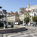 Fountain In The Pedro Iv Square Also Best Known As Rossio Square by Andre Goncalves