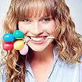 Fun Party Girl With Balloons In Mouth by Jorgo Photography - Wall Art Gallery