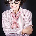 Funny Female Business Nerd With Big Geeky Smile by Jorgo Photography - Wall Art Gallery