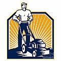 Gardener Mowing Lawn Mower Retro by Aloysius Patrimonio