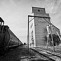 grain elevator and old train track with grain railcars leader Saskatchewan Canada by Joe Fox