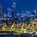 Grand Palace At Twilight In Bangkok Between Loykratong Festival by Anek Suwannaphoom