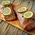 Grilled Salmon Cooked On A Cedar Plank by Brandon Bourdages