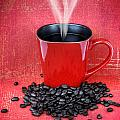 Grungy Red Cup Of Coffee by Sylvie Bouchard
