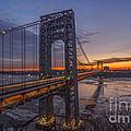Gw Bridge Car Light Trails  by Michael Ver Sprill