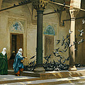 Harem Women Feeding Pigeons In A Courtyard by Jean Leon Gerome