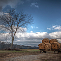 Hay Bales On A Wagon by Larry Braun