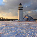 Highland Lighthouse Winter Sunset by John Burk