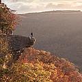 Hiker On Hawksbill Crag In Arkansas by Brandon Alms